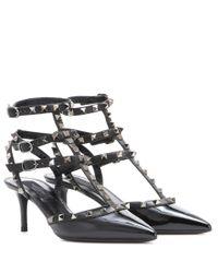 Valentino - Black Rockstud Kitten-Heeled Patent-Leather Pumps - Lyst