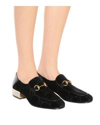 Gucci - Black Embellished Horsebit GG Velvet Loafers - Lyst