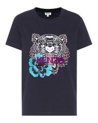 KENZO - Black Tiger Logo Cotton T-shirt - Lyst