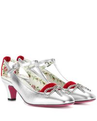 Gucci - Metallic Embellished Leather Pumps - Lyst