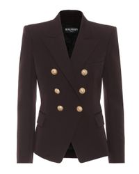 Balmain - Brown Wool Double-breasted Jacket - Lyst