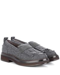 Brunello Cucinelli - Gray Felt Loafers - Lyst