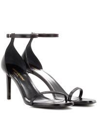 Saint Laurent - Black Jane 80 Leather Sandals - Lyst
