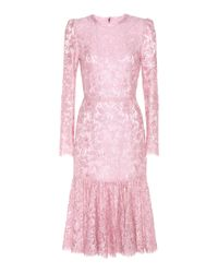 Dolce & Gabbana - Pink Lace Dress - Lyst