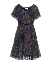 Chloé - Blue Printed Cotton And Silk-blend Crepon Dress - Lyst