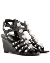 Balenciaga - Gray Arena Leather Wedge Sandals - Lyst
