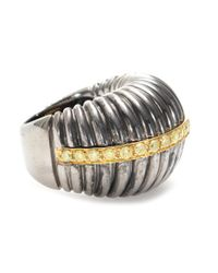 Roberto Marroni - Metallic Oxidized Sterling Silver Ring With Yellow Diamonds Set On 18kt Yellow Gold - Lyst