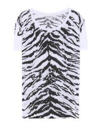 Saint Laurent White Tiger Print T-shirt