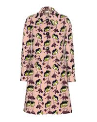 Miu Miu | Pink Printed Wool-crepe Coat | Lyst