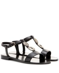 Saint Laurent | Black Embellished Leather Sandals | Lyst