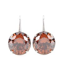 Bottega Veneta | Brown Crystal-embellished Silver Earrings | Lyst