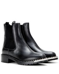 Miu Miu   Black Embellished Leather Ankle Boots   Lyst