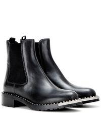 Miu Miu   Metallic Embellished Leather Ankle Boots   Lyst