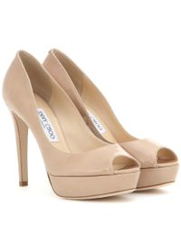Jimmy Choo | Natural Dahlia Patent Leather Peep-toe Pumps | Lyst