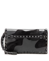 Valentino | Black Garavani Rockstud Leather Clutch | Lyst