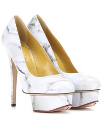 Charlotte Olympia - White Dolly Printed Leather Pumps - Lyst