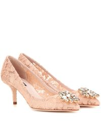 Dolce & Gabbana | Natural Bellucci Embellished Lace Pumps | Lyst
