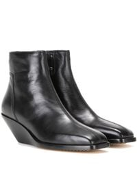 Rick Owens | Black Leather Wedge Ankle Boots | Lyst