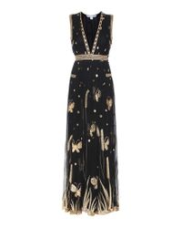 Diane von Furstenberg | Black Vivianette Embroidered Tulle Maxi Dress | Lyst