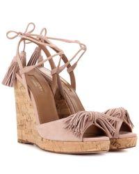Aquazzura - Pink Wild One Suede Wedge Sandals - Lyst