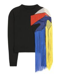 Christopher Kane - Black Fringed Cotton Sweater - Lyst