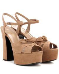 Saint Laurent - Brown Candy 80 Suede Platform Sandals - Lyst