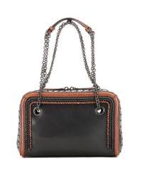 Bottega Veneta - Black Intrecciato Leather And Snakeskin Shoulder Bag - Lyst