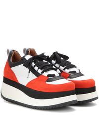 Ganni - Red Naomi Tech Mesh And Suede Sneaker - Lyst