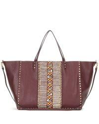 Valentino - Metallic Rockstud Large Embellished Leather Shopper - Lyst