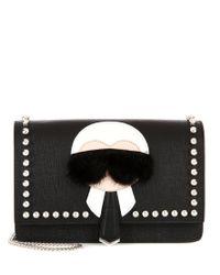 Fendi - Black Karlito Fur-trimmed Leather Shoulder Bag - Lyst