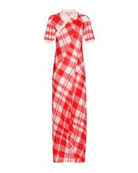 Stella McCartney - Red Knitted Check Cotton Dress - Lyst