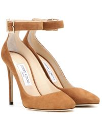 Jimmy Choo | Natural Helena 110 Suede Pumps | Lyst