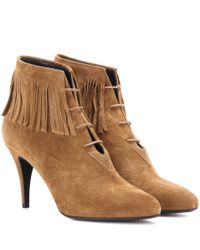 Saint Laurent | Brown Anita 85 Fringed Suede Ankle Boots | Lyst