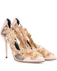 Oscar de la Renta | Pink Embellished Patent Leather And Mesh Pumps | Lyst