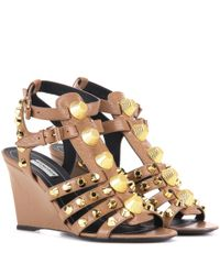 Balenciaga - Natural Arena Leather Wedge Sandals - Lyst