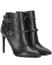 Valentino | Black Garavani Rockstud Rolling Noir Leather Ankle Boots | Lyst
