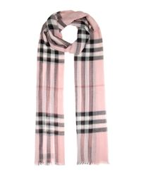 Burberry | Pink Giant Check Wool And Silk Scarf | Lyst