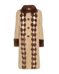 Prada | Natural Fur-trimmed Shearling Coat | Lyst