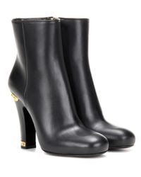 Prada | Black Embellished Leather Ankle Boots | Lyst