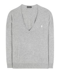 Polo Ralph Lauren | Gray Embroidered Wool Sweater | Lyst