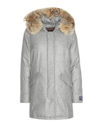 Woolrich | Gray Arctic Fur-trimmed Virgin Wool And Cashmere Parka | Lyst