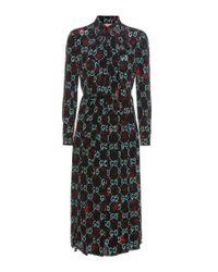 Gucci | Black Ghost Printed Silk Dress | Lyst