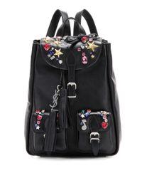 Saint Laurent - Black Embellished Leather Backpack - Lyst