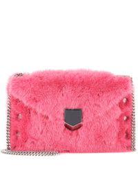 Jimmy Choo | Pink Lockett Envelope Mini Fur Shoulder Bag | Lyst