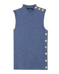 Balmain - Blue Embellished Cotton Top - Lyst