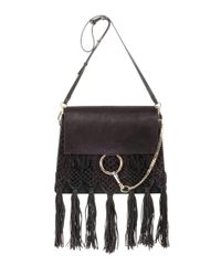 Chloé | Black Faye Fringed Leather Shoulder Bag | Lyst