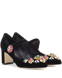Dolce & Gabbana | Black Crystal-embellished Mary Jane Pumps | Lyst