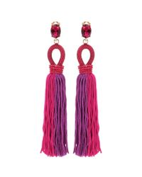 Oscar de la Renta | Red Embellished Tassel Clip-on Earrings | Lyst
