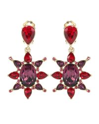 Oscar de la Renta | Red Crystal Clip-on Earrings | Lyst