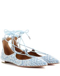 Aquazzura - Blue Christy Emroidered Flat Ballerinas - Lyst